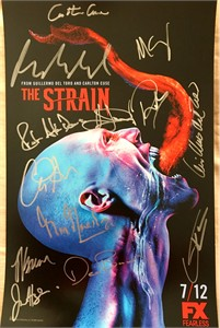 The Strain cast autographed 2015 Comic-Con poster (Guillermo Del Toro Kevin Durand Richard Sammel Miguel Gomez)