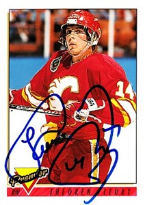 Theoren (Theo) Fleury autographed Calgary Flames 1993-94 Topps Premier card
