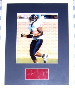 Thomas Jones autograph matted & framed with Virginia Cavaliers 8x10 photo