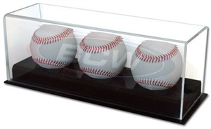 Three baseball acrylic display case