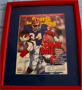 Thurman Thomas autographed Buffalo Bills 1992 Sports Illustrated cover matted & framed