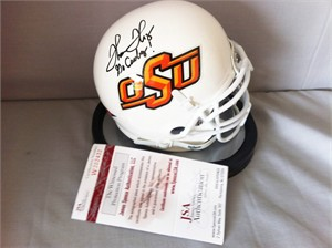 Thurman Thomas autographed Oklahoma State mini helmet inscribed Go Cowboys! (JSA)