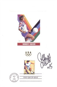 Tiffeny Milbrett autographed women's soccer 1996 Olympic USPS First Day of Issue souvenir card sheet