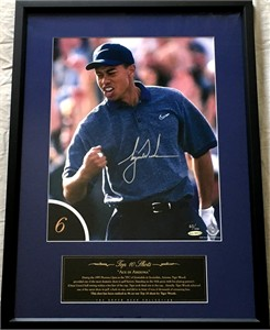 Tiger Woods autographed 1997 Phoenix Open Hole in One 12x16 photo matted and framed #83/100 (UDA)