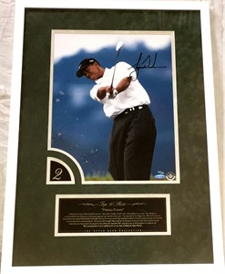 Tiger Woods autographed 2000 U.S. Open victory 12x16 inch photo matted & framed #13/100 (UDA)
