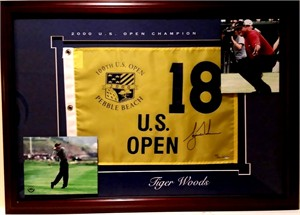 Tiger Woods autographed 2000 U.S. Open golf pin flag matted & framed UDA #/500