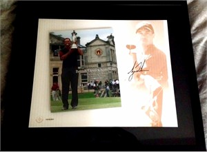 Tiger Woods autographed 2005 British Open Champion photo montage framed UDA