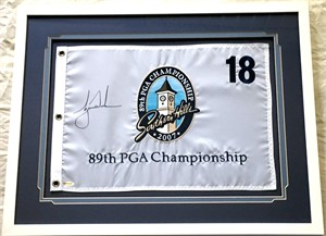 Tiger Woods autographed 2007 PGA Championship embroidered golf pin flag matted and framed (UDA)
