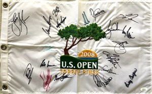 2008 US Open golf embroidered pin flag autographed by 19 winners (Tiger Woods Arnold Palmer Gary Player Lee Trevino)
