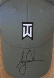 Tiger Woods autographed TW logo khaki Nike golf cap or hat