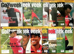 Tiger Woods lot of 14 oversized 2005-2008 Golfweek magazines