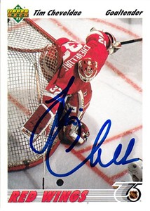 Tim Cheveldae autographed Detroit Red Wings 1991-92 Upper Deck card