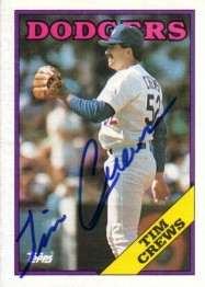 Tim Crews autographed Los Angeles Dodgers 1988 Topps card