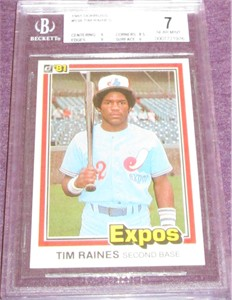 Tim Raines Montreal Expos 1981 Donruss Rookie Card #538 BGS graded 7
