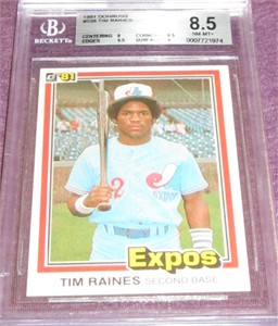 Tim Raines Montreal Expos 1981 Donruss Rookie Card #538 BGS graded 8.5