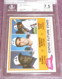 Tim Raines Montreal Expos 1981 Topps Rookie Card #479 BGS graded 7.5