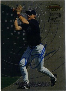 Tim Salmon certified autograph Angels 1997 Bowman's Best card