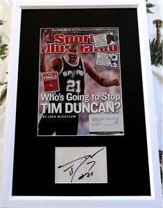 Tim Duncan autograph framed with San Antonio Spurs 2003 Sports Illustrated magazine cover