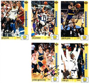 5 Golden State Warriors autographed 1991-92 Upper Deck cards (Tim Hardaway Sarunas Marciulionis)
