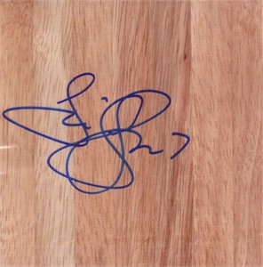 Tina Thompson autographed basketball hardwood floor