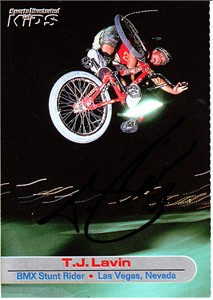 T.J. Lavin autographed Sports Illustrated for Kids BMX card