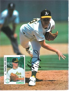 Todd Van Poppel autographed Oakland A's Beckett back cover photo