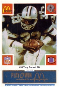 Tony Dorsett Dallas Cowboys 1986 McDonald's card