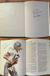 Tom Landry & Roger Staubach autographed Dallas Cowboys The First 25 Years hardcover coffee table book (inscribed To Jim)