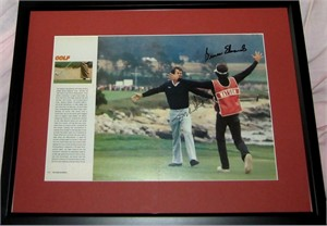 Tom Watson & Bruce Edwards autographed 1982 U.S. Open Pebble Beach Sports Illustrated photo matted & framed