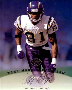 Tony Martin certified autograph San Diego Chargers 1997 Leaf 8x10 photo card