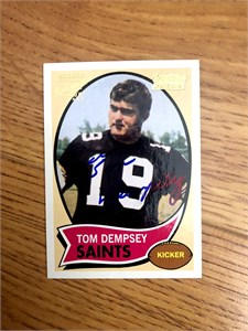 Tom Dempsey certified autograph Topps card