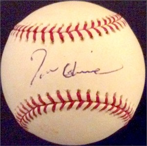 Tom Glavine autographed MLB baseball (faded)