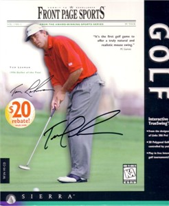 Tom Lehman autographed Front Page Sports Golf software box