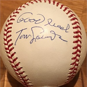 Tom Lasorda autographed National League baseball inscribed Good luck