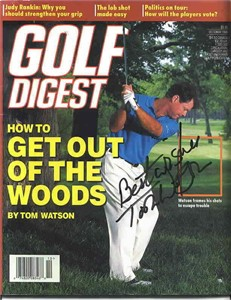 Tom Watson autographed 1996 Golf Digest magazine inscribed Best Wishes