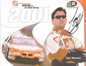 Tony Stewart autographed 8 1/2 by 11 Home Depot NASCAR photo