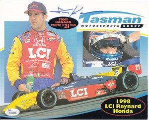 Tony Kanaan autographed 1998 Tasman Motorsports 8x10 photo card (JSA)