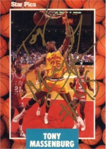 Tony Massenburg autographed Maryland Terrapins 1990 Star Pics card