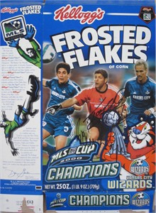 Tony Meola & Preki autographed Kansas City Wizards 2000 MLS Champions Frosted Flakes cereal box
