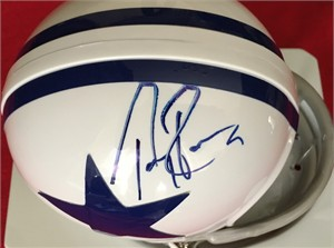 Tony Romo autographed Dallas Cowboys throwback mini helmet