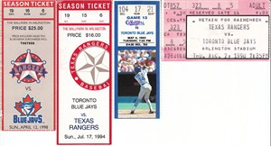 Toronto Blue Jays at Texas Rangers lot of 4 vintage ticket stubs