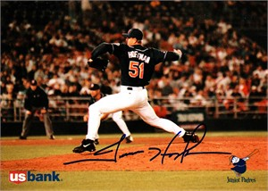 Trevor Hoffman autographed 1996 San Diego Padres 5x7 US Bank photo card