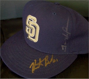 Trevor Hoffman & Heath Bell autographed San Diego Padres authentic game model cap or hat