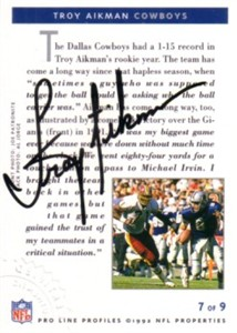 Troy Aikman certified autograph Dallas Cowboys 1992 Pro Line card