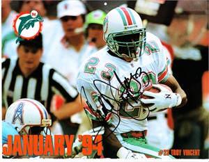 Troy Vincent autographed Miami Dolphins 1993-1994 calendar page photo