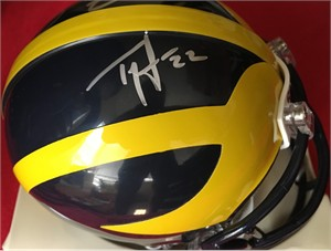Ty Law & Braylon Edwards autographed Michigan Wolverines mini helmet