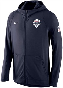 USA Basketball Nike Dri-Fit navy blue full zippered hoodie or hooded sweatshirt NEW