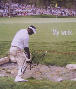 Vijay Singh autographed 10x12 inch golf book photo