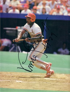 Vince Coleman autographed St. Louis Cardinals Beckett Baseball back cover photo