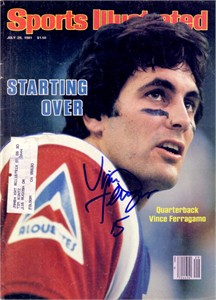 Vince Ferragamo autographed CFL Montreal Alouettes 1981 Sports Illustrated